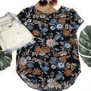 H & M navy floral top size 8 NWOT
